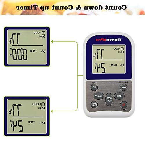 ThermoPro TP12 Wireless Meat Oven Smoker BBQ Thermometer Dual 300 Range