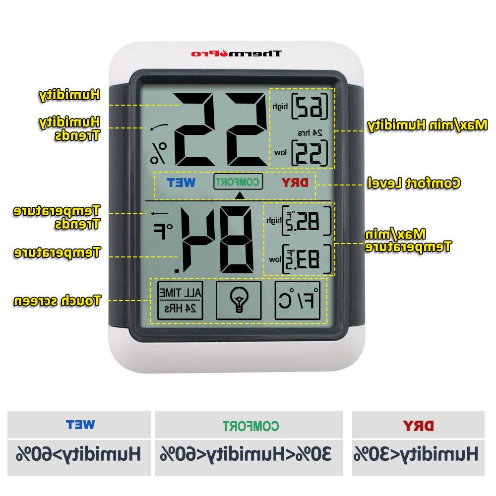 ThermoPro TP55 Indoor Thermometer Hygrometer Humidity Meter Touchscreen