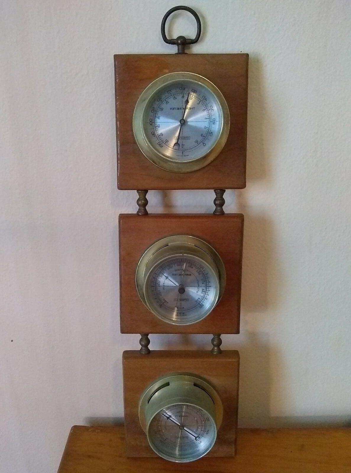 vintage wood and metal weather station thermometer