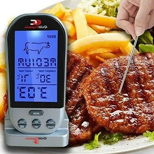 Wireless Thermometer Remote BBQ Batteries and Spare Probe