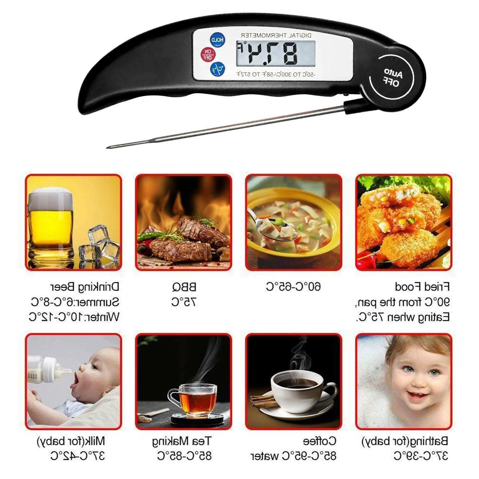 Digital Instant Read Foldable Probe Thermometer Grill Oven K