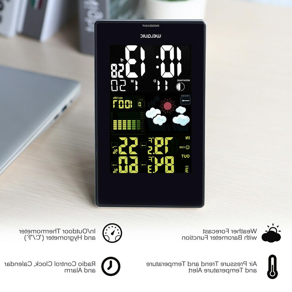Wireless Weather Station IN/OUT Temperature Humidity Clock Thermometer