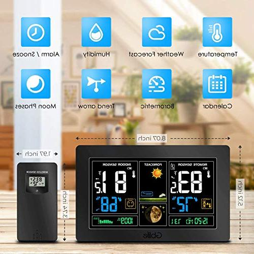 GBlife Color Forecast Indoor Thermometer Remote Barometer, Temperature