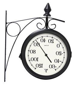 "La Crosse 104-730 8"" Dual-Faced Outdoor Station Clock and Th"