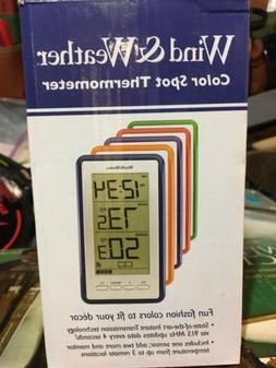 Large-Digit Indoor/Outdoor Color Spot Thermometer & Clock, B