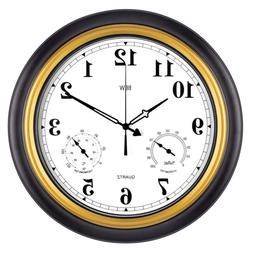 BEW Large Outdoor Clock, 18 Inch Thermometer & Hygrometer Co