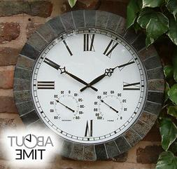 Large Slate Effect Yard Wall Clock & Garden Thermometer Humi