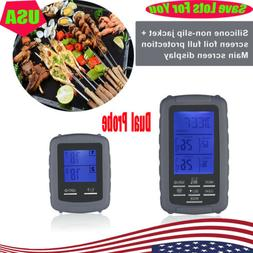 LCD Digital Meat Thermometer With 2 Probe For Smoker Grill F