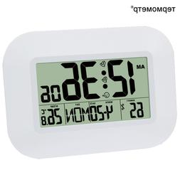 LCD Digital Wall Alarm Clock with Temperature Thermometer Hu