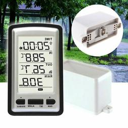 LCD Wireless Weather Station Rain Gauge Digital  Outdoor&Ind