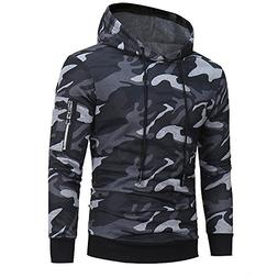 Wffo Mens' Long Sleeve Camouflage Hoodie Hooded Sweatshirt T