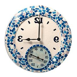 Mosaic Sea Clock with 14 Thermometer