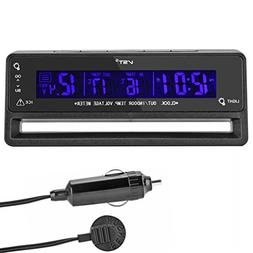OLLGEN Multifunctional 4 in 1 Car Digital Clock In/Out Therm