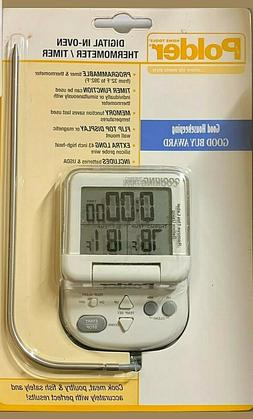 New! Polder Digital In-Oven Meat Thermometer and Timer Insta