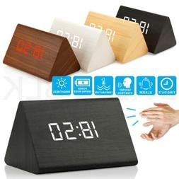 New Modern Wooden Wood Digital LED Desk Alarm Clock Thermome