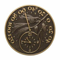 Whitehall Products Pinecone Thermometer Clock, French Bronze