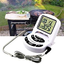 Portable Electric Meat Thermometer LCD Digital Turkey Timer