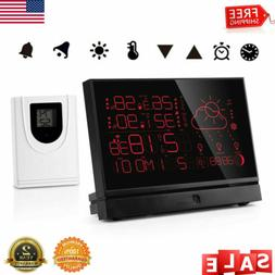 LCD Wireless Weather Station Alarm Clock In/Outdoor Thermome