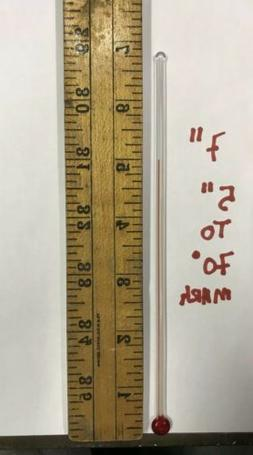 RARE 7 INCH GLASS REPLACEMENT THERMOMETER TUBE WITH RED LIQU