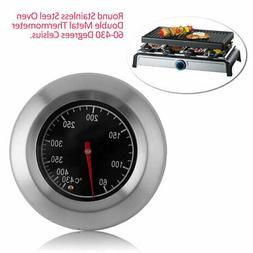 Round Stainless Steel Oven Double Metal Thermometer 60-430 D