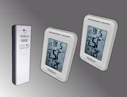 Silver Trim Dual Display Wireless Indoor/Outdoor Thermometer