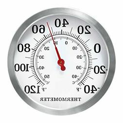 """MIHE 12"""" Stainless Steel Decorative Indoor/Outdoor Thermomet"""