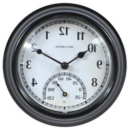 Thermometer Wall Mount Clock Indoor Outdoor Black Weather Re
