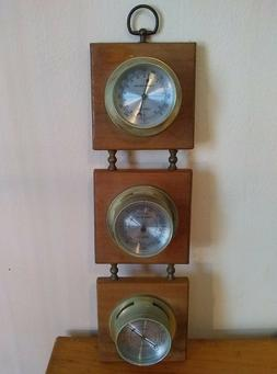 Vintage Wood and Metal Weather Station Thermometer Barometer