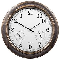 SkyNature 18 Inch Large Outdoor Wall Clock Waterproof Temper