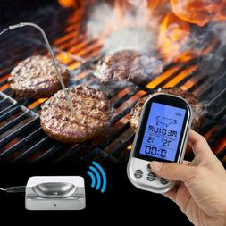 Wireless Digital BBQ Thermometer LCD Remote Grill Meat Kitch
