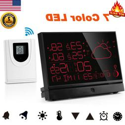Wireless Digital LCD Color Weather Station Clock Calendar Hu