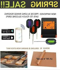 WIRELESS Bluetooth MEAT THERMOMETER +XL NONSTICK COPPER MAT