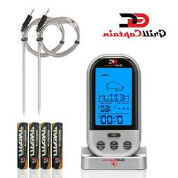 Wireless Meat Thermometer Digital Remote BBQ Free Batteries