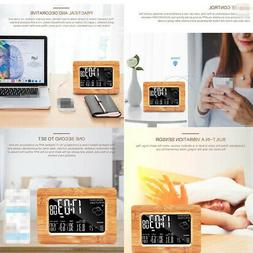 Wooden Desk Alarm Clock WIFI Digital Desk Clock with Thermom